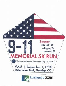 9-11 memorial 5k run in Greeley 2018