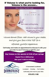 Juvederm Voluma July Special at front range dermatology
