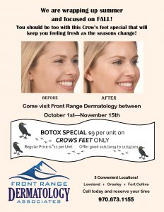 October 2019 Botox Special at Front Range Dermatology