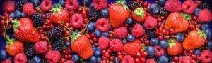 assortment of strawberries, black berries, blueberries, raspberries, and cranberries